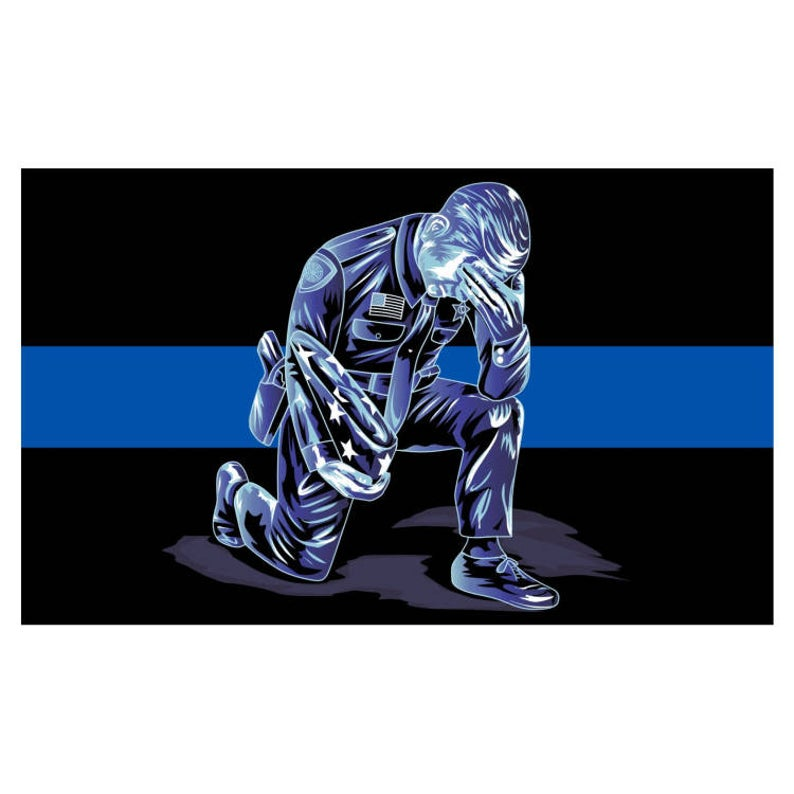 Kneeling Police Officer Praying with Flag Thin Blue Line Law Enforcement Image